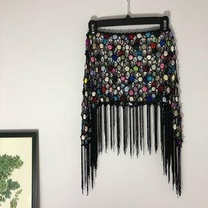 Loose crochet boho skirt w/ fringe